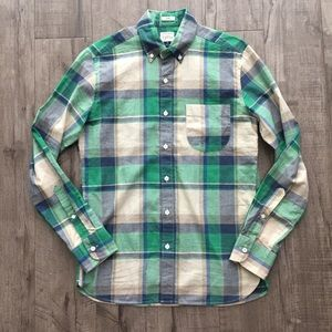 J. Crew Slim Indian Madras Green Plaid Button Down